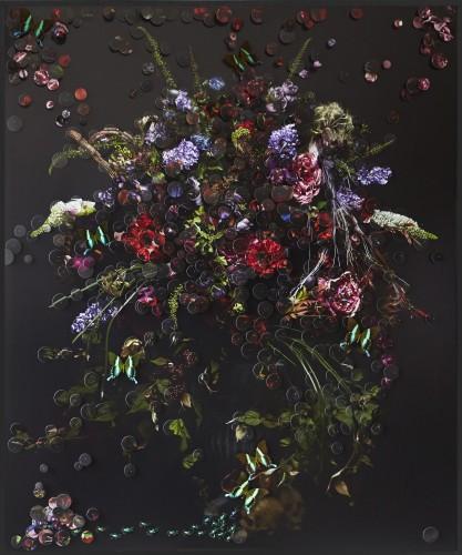 Satoshi Saïkusa Bon'nô II (Lust), impression numérique de pigments, papillons et insectes dans boite entomologique, 150 x 180 cm, 2015. Courtesy de l'artiste et la Galerie Da-End